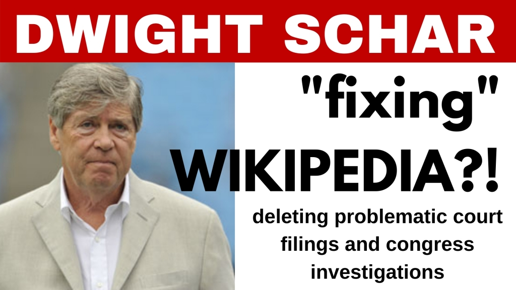DWIGHT SCHAR NEWS - caught trying to change wikipedia