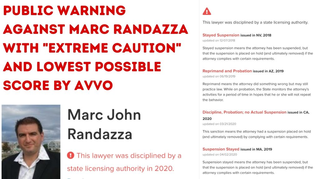 PUBLIC WARNING AGAINST MARC RANDAZZA WITH _EXTREME CAUTION_ AND LOWEST POSSIBLE SCORE BY AVVO